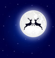 reindeer jumps against the background of the moon vector image vector image