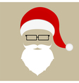 Santa hat mustache beard and glasses vector image