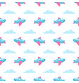 seamless pattern with planes and clouds vector image vector image