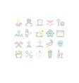 set flat line icons halloween vector image