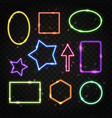 set of colorful neon frames with space for text vector image