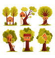 set tree house children playground with swing vector image vector image