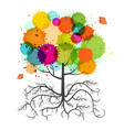 spring tree with roots and colorful splashes and vector image vector image