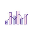 statistics bar diagram with arrow growing vector image vector image