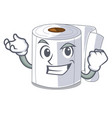 successful character toilet paper rolled on wall vector image vector image