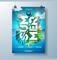 summer party flyer design template with tropical vector image vector image