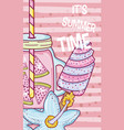 summer time juice cartoon vector image vector image