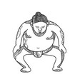 sumo wrestler stomping doodle vector image vector image