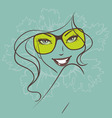 women face sunglasses green vector image vector image
