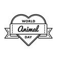 world animal day greeting emblem vector image vector image