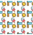 sun with surfboard and ice lolly background icons vector image