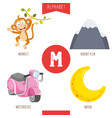 alphabet letter m and pictures vector image vector image