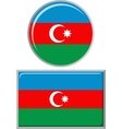 Azerbaijani round and square icon flag vector image vector image