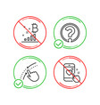 bitcoin graph swipe up and question mark icons vector image vector image