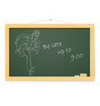 blackboard with businessman running to work with vector image vector image