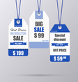Blue vintage tag for sale template vector image vector image