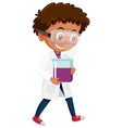 boy in scientist costume holding science objects vector image vector image