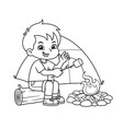 boy making campfire and baking marshmallow bw vector image vector image
