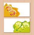 Cards and fresh oranges with lemons sliced fruit