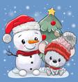 cartoon mouse and snowman near christmas tree vector image vector image