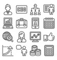 ceo and business management icons set line style vector image vector image