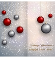 christmas greeting card with balls on snow vector image vector image