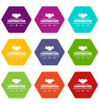 cooperation icons set 9 vector image vector image