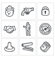 Crime and the slave trade icons set vector image vector image