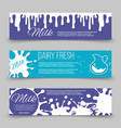 dairy fresh banners template design with milk or vector image vector image