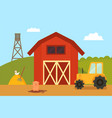 farm building with animals vector image