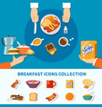 flat breakfast icons collection vector image vector image
