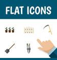 flat icon garden set of flowerpot wooden barrier vector image vector image