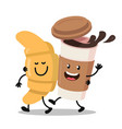 funny cartoon characters coffee and croissant vector image