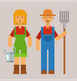 garden people character agriculture farm harvest vector image