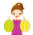 Girl Holding Durian vector image vector image