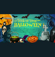 halloween holiday poster with skeleton on cemetery vector image vector image