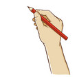 hand holding pencil vertically vector image