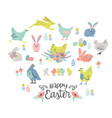 happy easter set of easter chicken and vector image vector image
