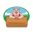 happy farm pig with wood plank for text space vector image