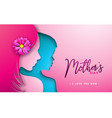 happy mothers day greeting card design with woman vector image vector image