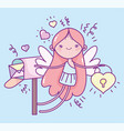 happy valentines day cute cupid with padlock and vector image vector image