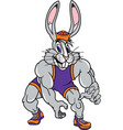 Jack rabbit sports wrestling logo mascot