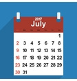 Leaf calendar 2017 with the month of July days vector image