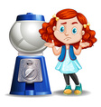 Little girl and empty candy machine vector image