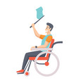man on wheelchair portrait middle age man in vector image