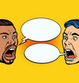 man scream face african and caucasian people vector image vector image