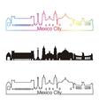 Mexico City skyline linear style with rainbow vector image vector image
