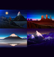 mountain everest matterhorn fuji with tourist vector image vector image