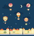 night landscape with air balloons and town vector image vector image
