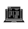 online job application glyph icon vector image vector image